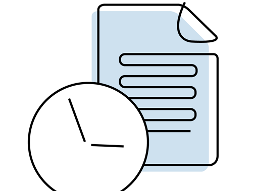 Clock and document article illustration