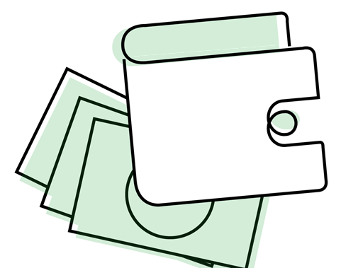 Wallet and notes illustration
