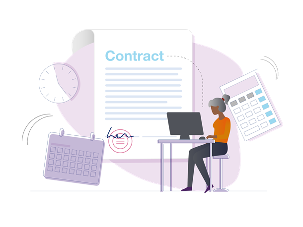 Illustration of a woman at a desk reading contract guidance