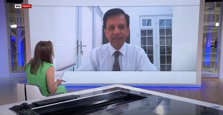 BMA chair Chaand Nagpaul interviews with Sky News - 31 July 2020